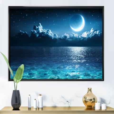 Designart 'Romantic Moon Over Deep Blue Sea I' Nautical & Coastal Framed Canvas Wall Art Print