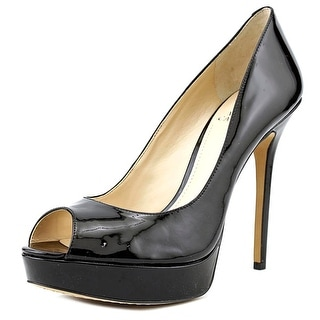 Vince Camuto Lorim Women Open Toe Patent Leather Black Platform Heel