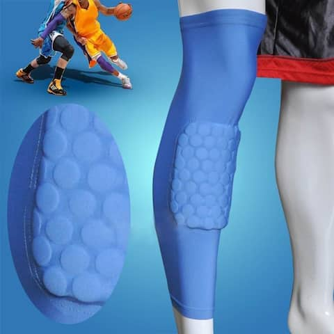 Image Size XL Basketball Knee Pads Leg Long Sleeves Honeycomb Protector Gear Anti-slip Pad Blue