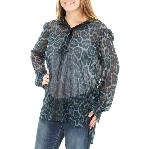 ANNE KLEIN Womens Blue Sheer W/o Cami Animal Print Long Sleeve Mandarin Collar Hi-Lo Hi-Lo Wear To Work Top Size: 2