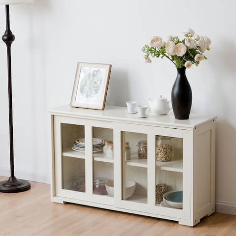 Wooden Buffet Cupboard Storage Sideboard with Sliding Glass Door