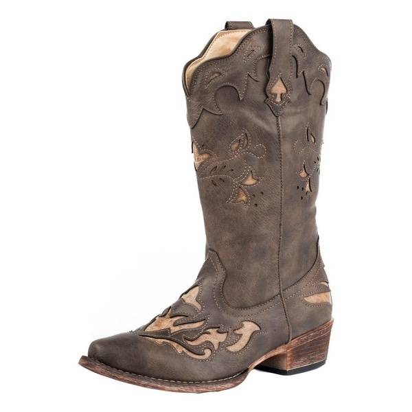 Roper Western Boots Womens Spade Snip Brown Tan