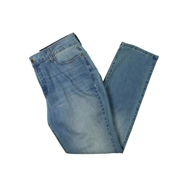 NYDJ Womens Petites Sheri Slim Jeans Denim Whisker Wash