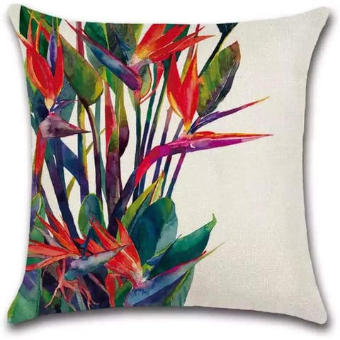"Lux Patio Beach House Lobster-claws Tropical print Pacific Heliconia Plants Decorative Pillowcases for Couch, Sofa 18"" x 18"""