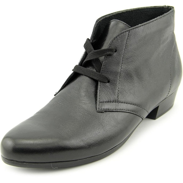 Munro American Sloane Women SS Round Toe Leather Black Ankle Boot