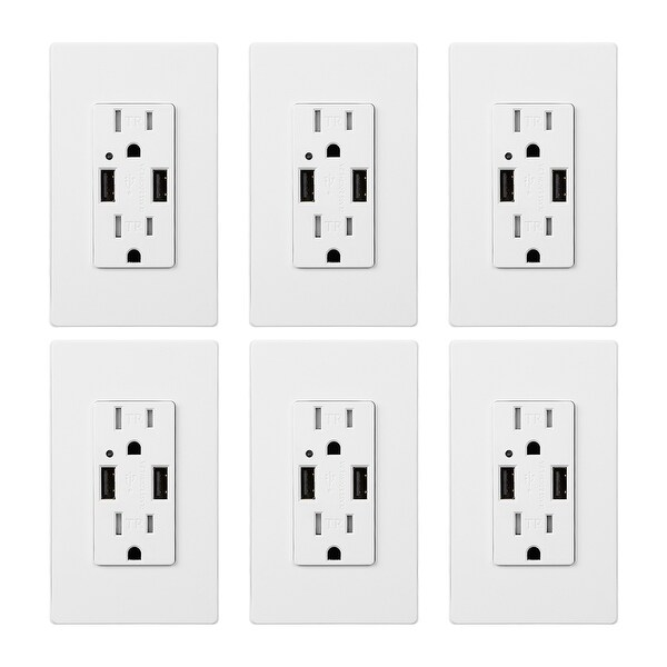 KioKi Dual USB Charging Wall Outlets, 15A AC 4.2A USB Ports
