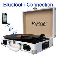 Boytone BT-101WT Bluetooth Turntable Briefcase Record player AC-DC, Built in Rechargeable Battery, 2 Stereo Speakers 3-speed, LC