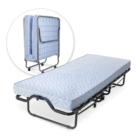 Milliard Lightweight Rollaway Folding Cot with Medium Firm Foam Mattress