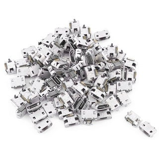 Unique Bargains 100 Pcs Replacement B-Type 5-Pin 2-Terminal SMT SMD Micro USB Connectors Jacks