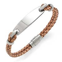 Chisel Stainless Steel Polished ID and Tan Leather Woven Bracelet