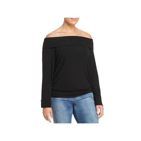 Elan Womens Plus Pullover Top Off-The-Shoulder Fold Over