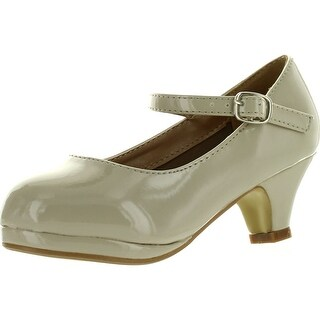 Forever Dana-63K Little Girl Kids Mid Heel Mary Jane Sandal Pu Leather Dress Pumps Dancing Shoes - Beige - 9 m us toddler