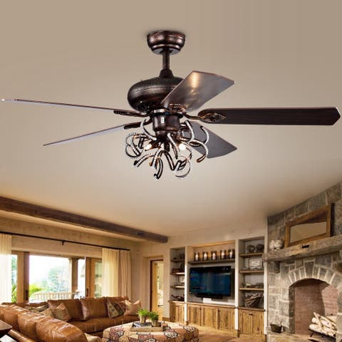 "Safavieh Lighting 52-Inch Sensa Ceiling Light Fan (with Remote) - 52"" x 52"" x 25.5"""