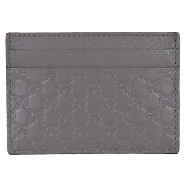 """Gucci 476010 Light Grey Leather Micro GG Guccissima Small Card Case - 4"""" x 2.75"""""""