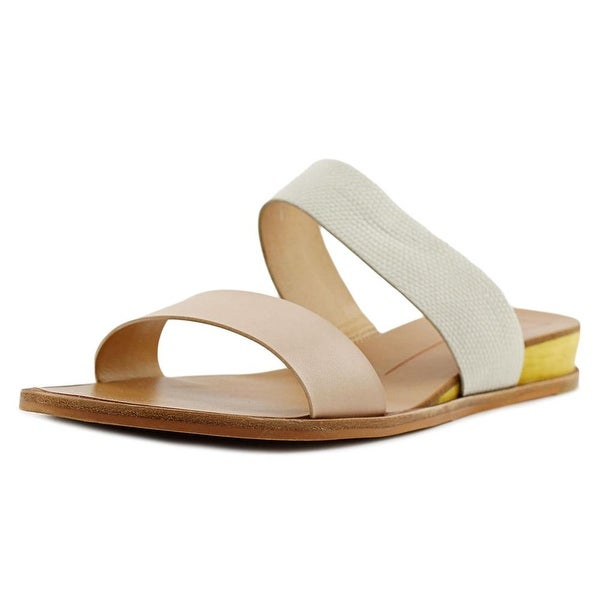 Dolce Vita Pris Women Open Toe Leather Nude Slides Sandal