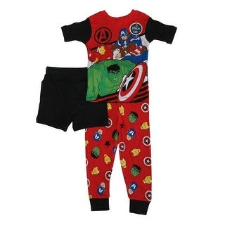 Marvel Little Boys Red Avengers Short Sleeve 3 Pc Pajama Set