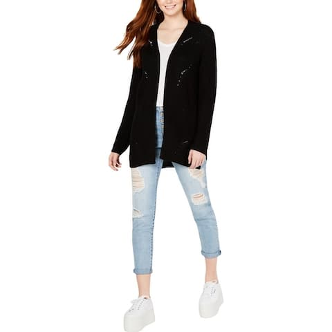 Hippie Rose Womens Cardigan Sweater Pointelle Long Sleeves