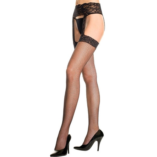 Fishnet Thigh High Stockings With Garter Belt, Fishnet Stockings With Lace Garter Belt - One Size Fits Most