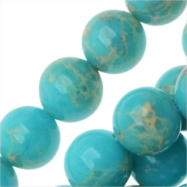 Impression Jasper Gemstone Beads, Round 8mm, 15 Inch Strand, Aqua Blue
