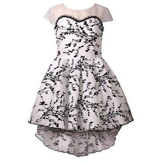 Bonnie Jean Girls Black White Tree Branch Print Hi-Low Christmas Dress