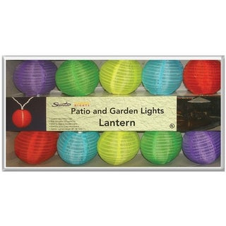 Celebrations 624FY12D Round Fabric Lantern Lights, 10 Count
