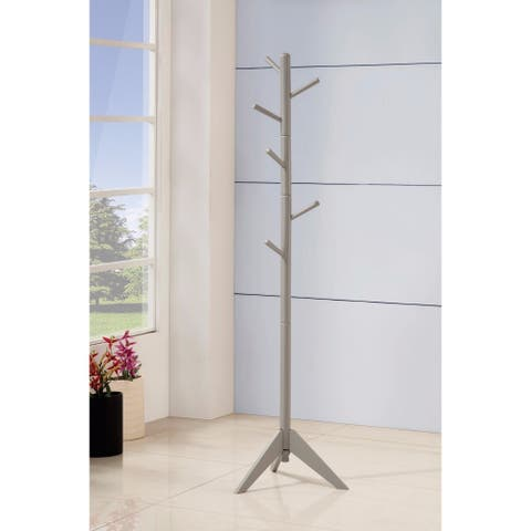 Well-made Metal Coat Rack with Six Pegs, Gray