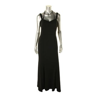 JS Boutique Womens Jeweled Sleeveless Evening Dress