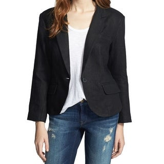 Olivia Moon NEW Black Women's XS Notch Collar One Button Linen Blazer