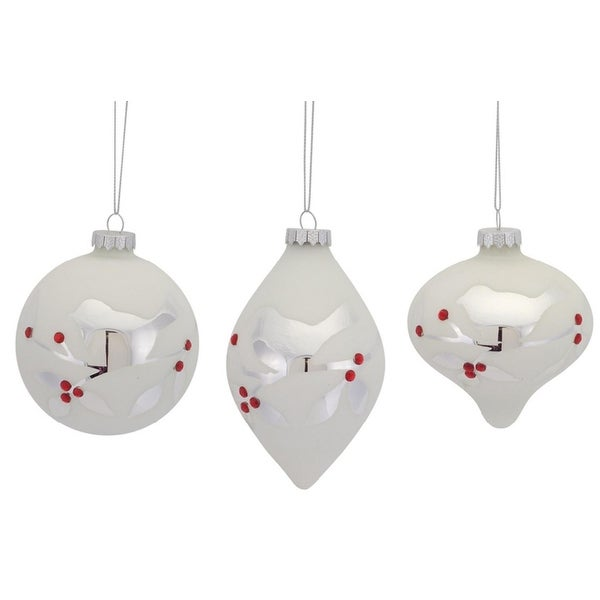 "Pack of 6 Elegant Etched Bird with Jewel Glass Ball, Onion and Drop Christmas Ornaments 5"" - WHITE"