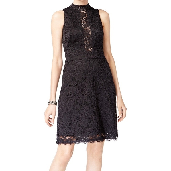 4ed6988f Shop Betsy & Adam Black Women's 10 Mock Neck Floral Lace A-Line Dress - On  Sale - Free Shipping On Orders Over $45 - Overstock - 27046351