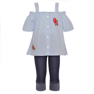 Little Girls Blue Red Off-Shoulder Strap Short Sleeve 2 Pc Pant Outfit