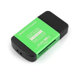 USB 2.0 All in One Multi Memory Card Reader Green for Mini SD MMC T-Flash MS