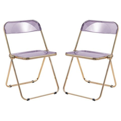 LeisureMod Lawrence Acrylic Folding Chair W/ Gold Metal Frame Set of 2 - 30""