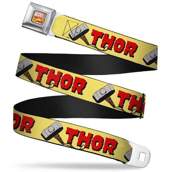 Marvel Comics Marvel Comics Logo Full Color Thor & Hammer Yellow Red Seatbelt Belt