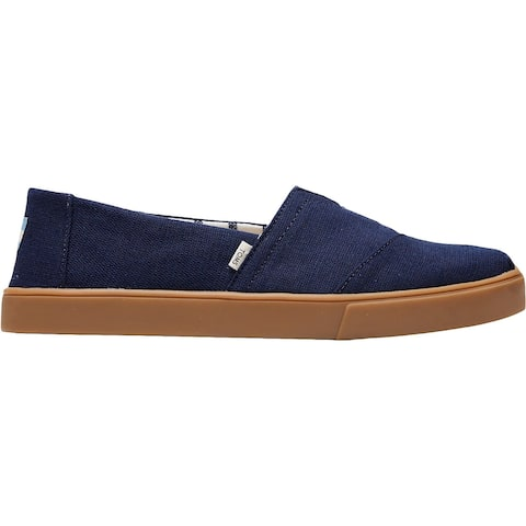 Toms Mens Classic Casual Shoes Canvas Slip On - Navy Heritage Canvas Cupsole - 10 Medium (D)