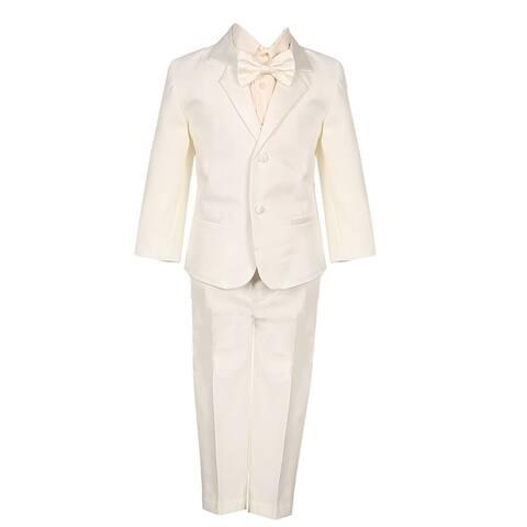 Boys Ivory 5 Piece Vest Jacket Pants Special Occasion Tuxedo Suit