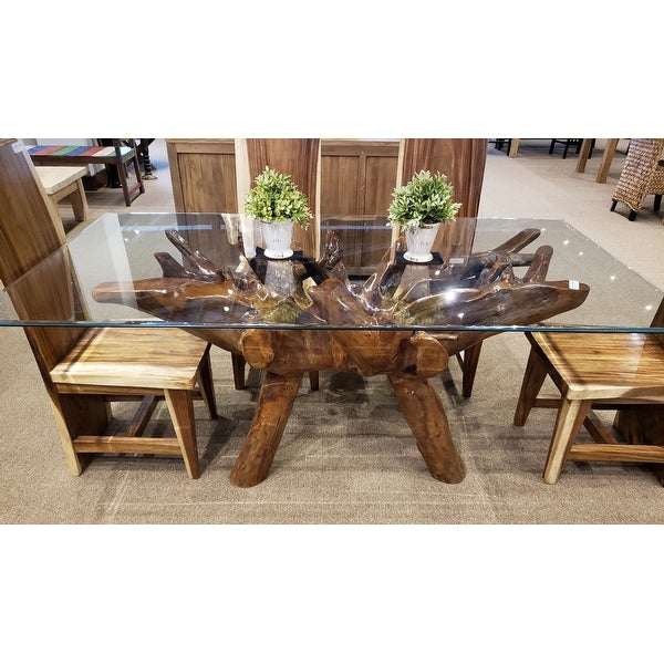 Chic Teak Rustic Teak Wood Root Dining Table Including 87 x 43 Inch Glass Top. Opens flyout.