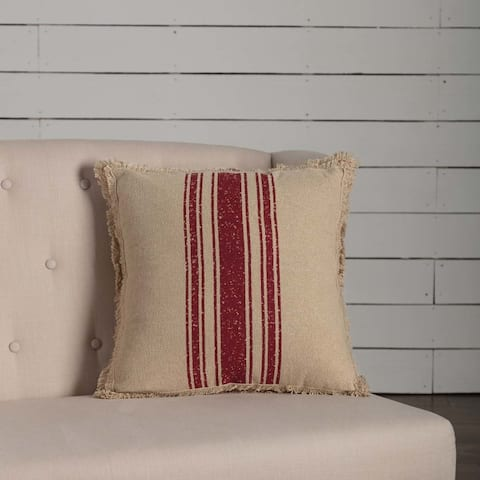 Vintage Burlap Stripe Pillow
