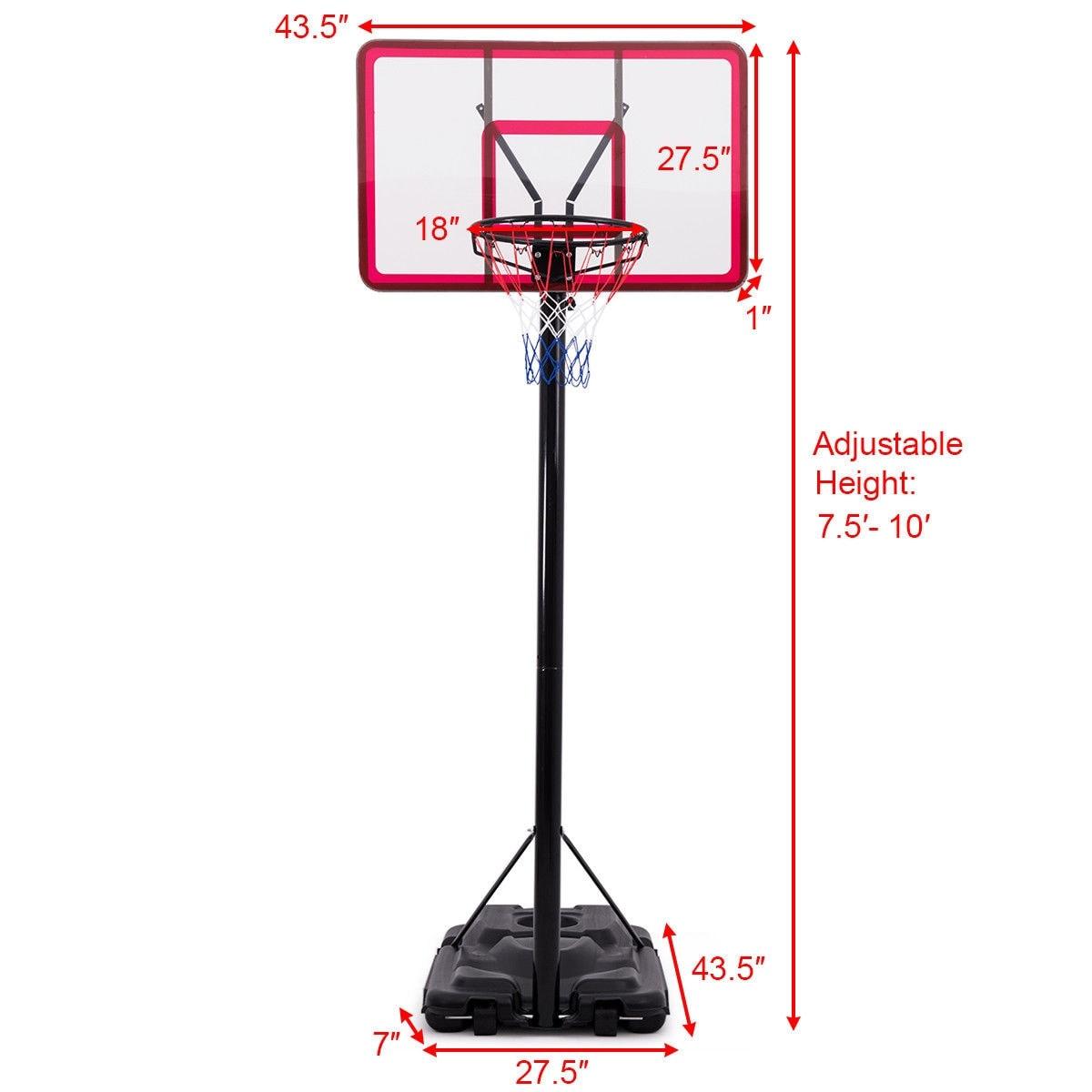 BN Portable Height Adjustable Basketball Hoop Stand Backboard System W//Wheels