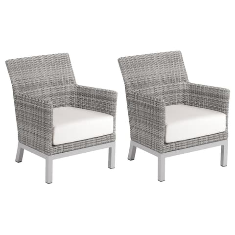 Oxford Garden Argento Resin Wicker Club Chair with Powder Coated Aluminum Legs - Eggshell White Polyester Cushion (Set of 2)