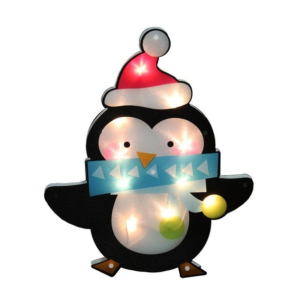 """17"""" Lighted Shimmering Penguin with Santa Hat Christmas Window Silhouette Decoration - WHITE"""