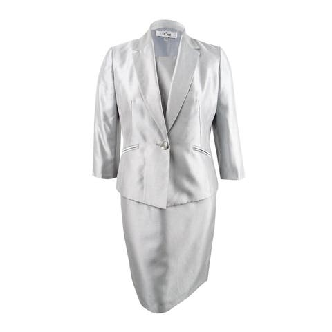 Le Suit Women's Plus Size Shiny One-Button Jacket & Dress (18W, Silver) - Silver - 18W