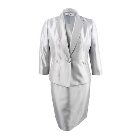 Le Suit Women's Shiny One-Button Jacket & Dress (12, Silver) - Silver - 12