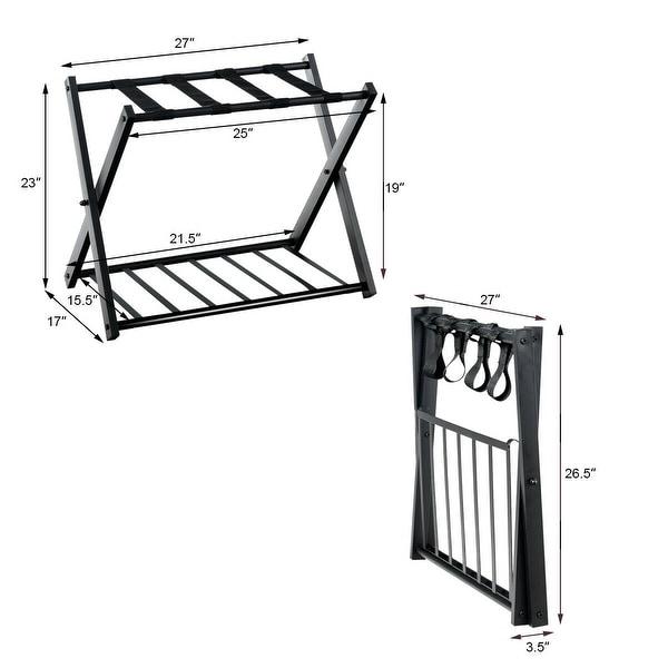 Folding Collapsible Travel Luggage Rack with Black Nylon Straps Black Set of 2, Black