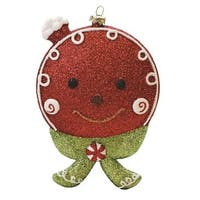 "5.5"" Merry & Bright Red, White and Green Glittered Shatterproof Gingerbread Head Christmas Ornament - RED"