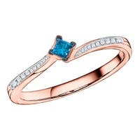 Prism Jewel 0.10ct Blue Color Princess Diamond with Diamond Engagement Ring - White G-H