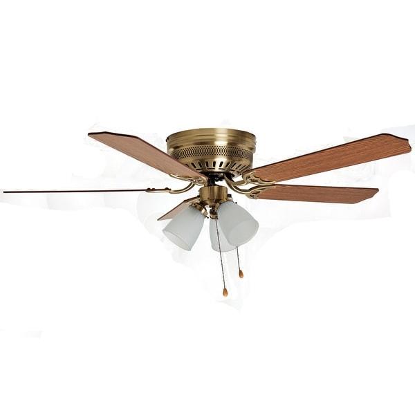 "Boston Harbor CF-78049L Hugger Three Light Ceiling Fan, 52"", Antique Brass"