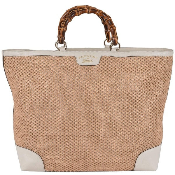 d067c558f5be83 Gucci 338964 Large Natural Straw Leather Bamboo Handle Purse Tote Shopper