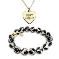 Black & White Agate Bracelet & Best Friend Heart Gold Charm Necklace Set