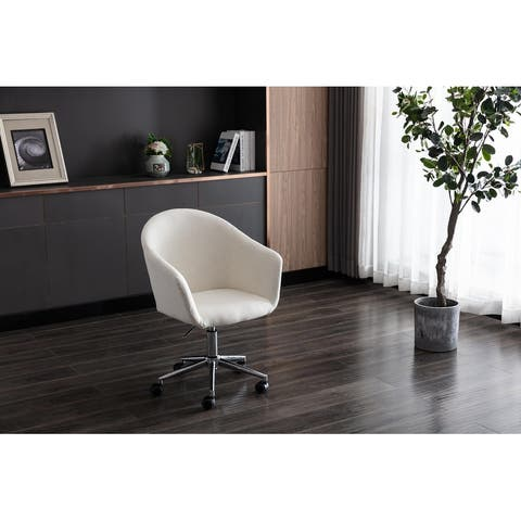 Home Computer Chair with Mid-Back Modern Adjustable Swivel Chair Linen Chair with Wheels